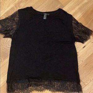 Forever 21 Black Lace Tee size M